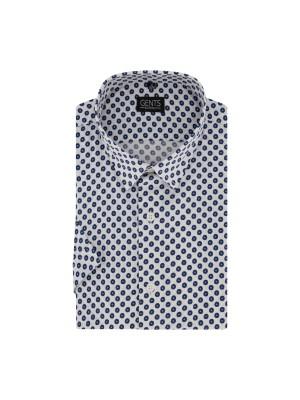 gents Shirts Korte mouw print cirkel witblauw 0726