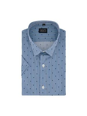 gents Shirts Korte mouw streep stip blauw-wit 0728