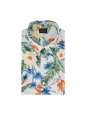 gents Shirts Korte mouw print palm bloem 0730