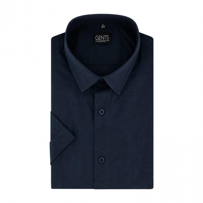 Korte mouw linnen katoen blauw 0732| GENTS.nl | Hoogste kwaliteit voor de laagste prijs