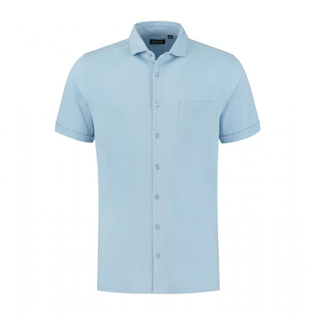 Polo knitted full button l-blauw 0043  GENTS.nl   Hoogste kwaliteit voor de laagste prijs