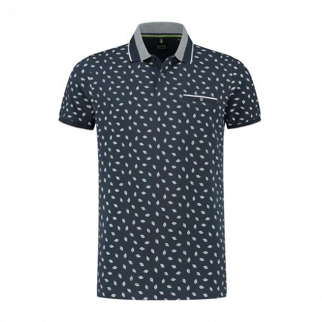 Polo print navy wit 0050| GENTS.nl | Hoogste kwaliteit voor de laagste prijs