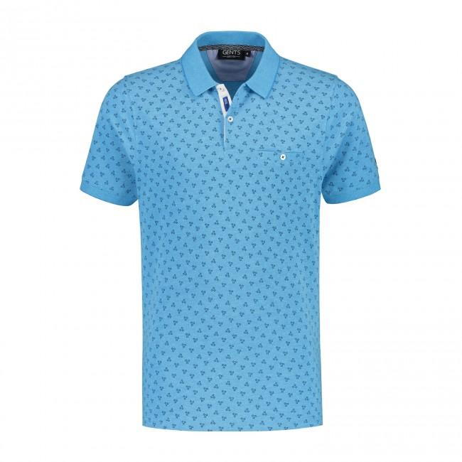 Polo miniprint lichtblauw 0058| GENTS.nl | Hoogste kwaliteit voor de laagste prijs
