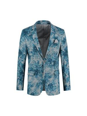Jersey print bloem grijs-blauw 0100