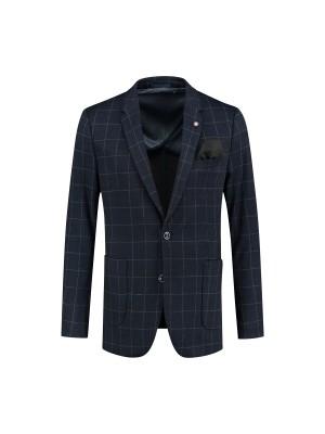 Colbert jersey ruit blauw 0121