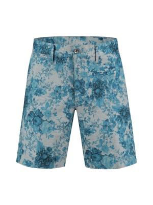 gents Broeken jersey print bloem grijs-blauw 0080