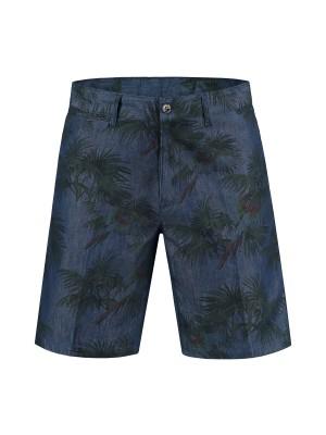 gents Broeken Bermuda denim print blauw 0081