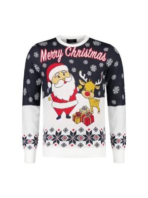 gents Truien&Vesten Kersttrui kerstman LED 0117