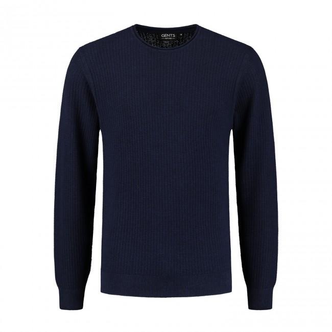 Roundneck structuur blauw 0132| GENTS.nl | Hoogste kwaliteit voor de laagste prijs
