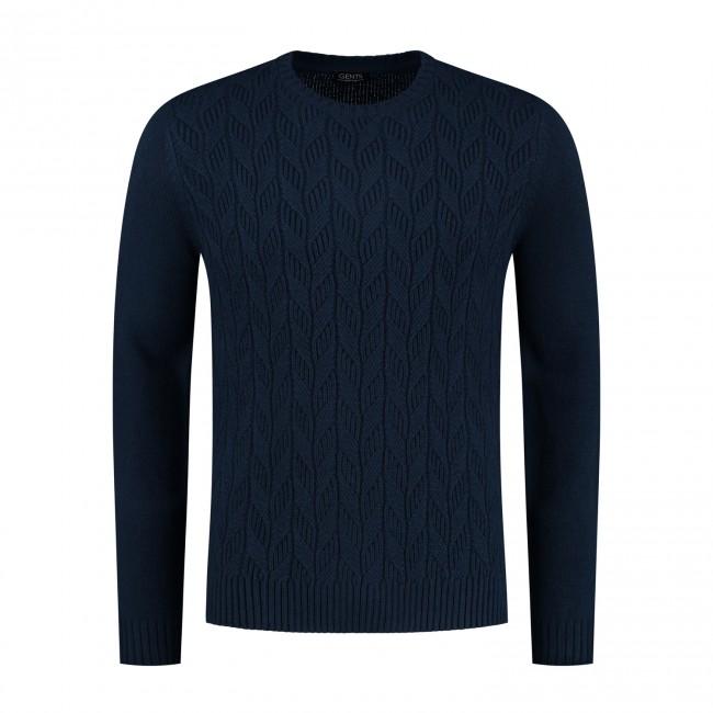 Kabeltrui ronde hals blauw 0140| GENTS.nl | Hoogste kwaliteit voor de laagste prijs