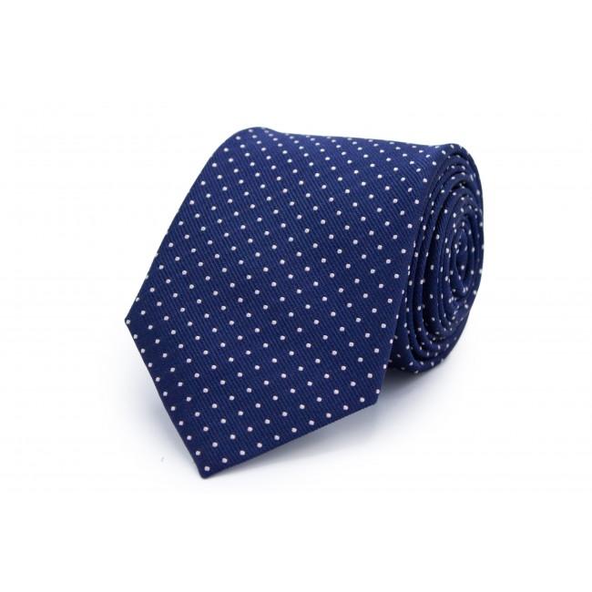 Stropdas Zijde blauw wit stip 0214| GENTS.nl | Hoogste kwaliteit voor de laagste prijs