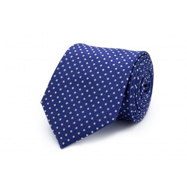 Stropdas zijde blauw stip wit 0258| GENTS.nl | Hoogste kwaliteit voor de laagste prijs