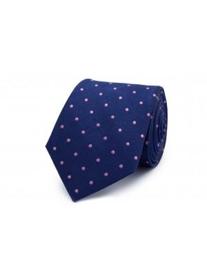 Stropdas zijde blauw stip roze 0260