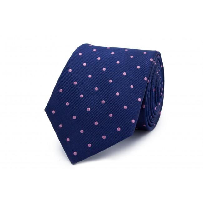 Stropdas zijde blauw stip roze 0260| GENTS.nl | Hoogste kwaliteit voor de laagste prijs