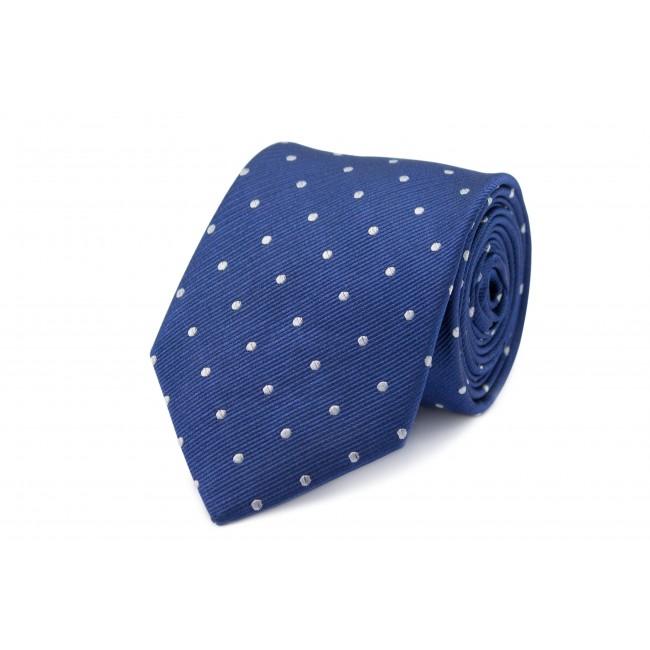 Stropdas zijde blauw l-b stip 0274| GENTS.nl | Hoogste kwaliteit voor de laagste prijs