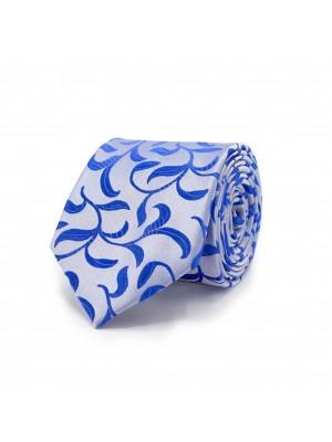 Stropdas Wit-blauw patroon 0473