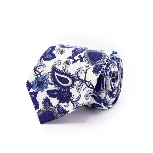 Stropdas wit-donkerblauw patroon 0475| GENTS.nl | Hoogste kwaliteit voor de laagste prijs