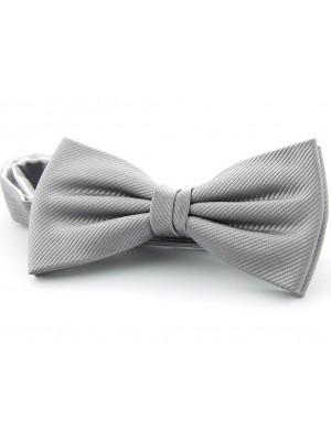 Vlinderstrik zijde zilver grijs 0031
