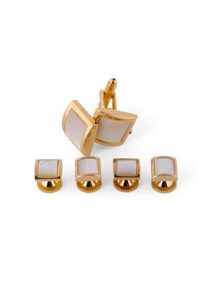 Manchetknoop studs goud-wit 0073