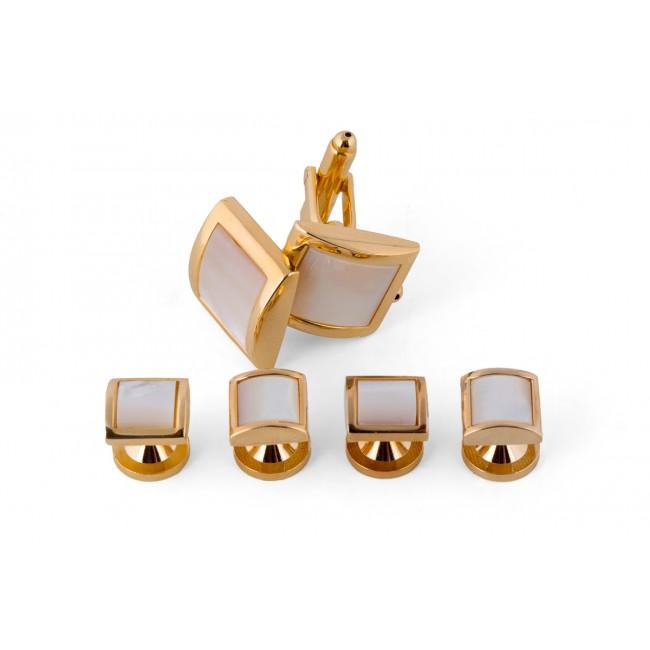 Manchetknoop studs goud-wit 0073| GENTS.nl | Hoogste kwaliteit voor de laagste prijs