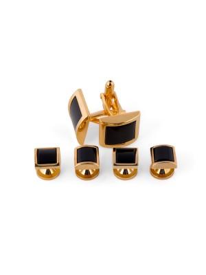 Manchetknoop studs goud-zwart 0074