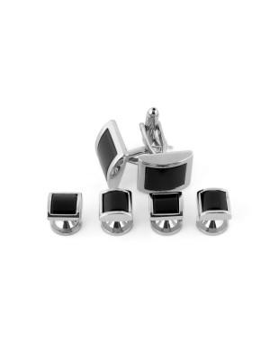 Manchetknoop studs zilver-zwart 0075