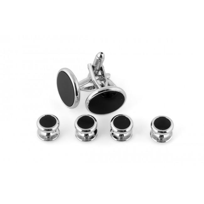 Manchetknoop studs zilver-zwart 0076| GENTS.nl | Hoogste kwaliteit voor de laagste prijs