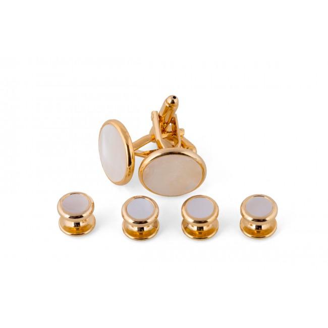 Manchetknoop studs goud-wit 0078| GENTS.nl | Hoogste kwaliteit voor de laagste prijs