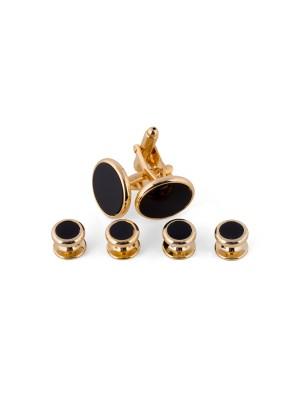 Manchetknoop studs goud-zwart 0079