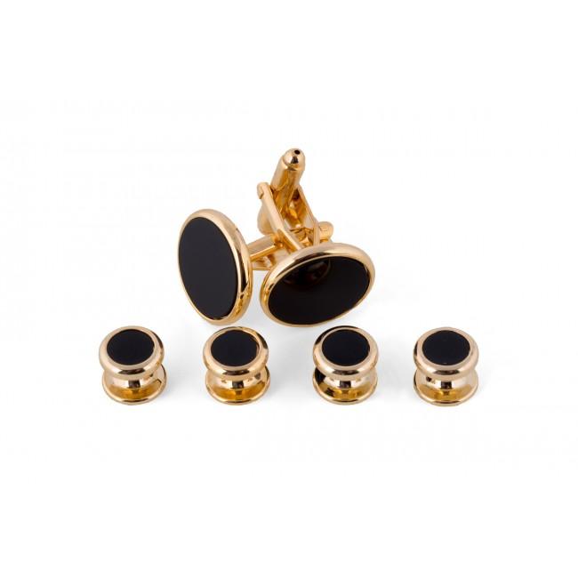 Manchetknoop studs goud-zwart 0079| GENTS.nl | Hoogste kwaliteit voor de laagste prijs
