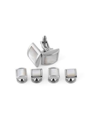 Manchetknoop studs zilver-wit 0080