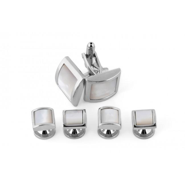 Manchetknoop studs zilver-wit 0080| GENTS.nl | Hoogste kwaliteit voor de laagste prijs