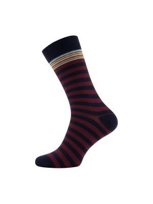 gents Sokken Sokken streep rood 0019
