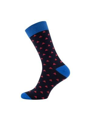 Sokken blauw print driehoek 0024