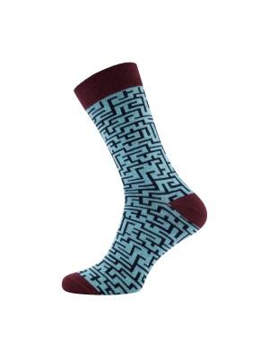 gents Sokken Sokken doolhof blauw 0040