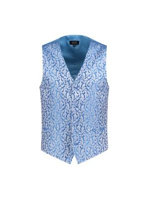Gilet paisley zilver-blauw 0015