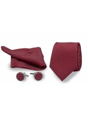 gents Accessoires Sets Set stropd manch poch rood met stip 0007