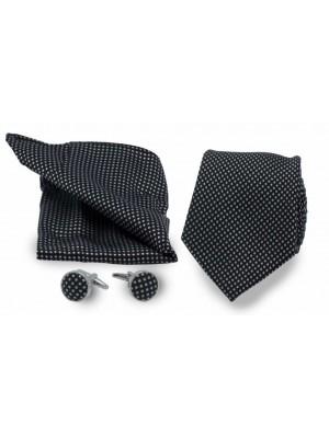 gents Accessoires Sets Set stropd manch poch zwart met stip 0008
