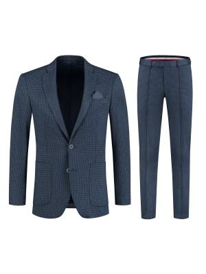 gents  M&M pak miniruit grijsblauw 2-delig